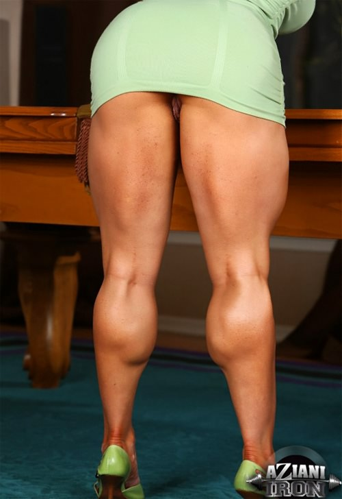 Brandi Mae bending over and exposing her incredible muscular legs
